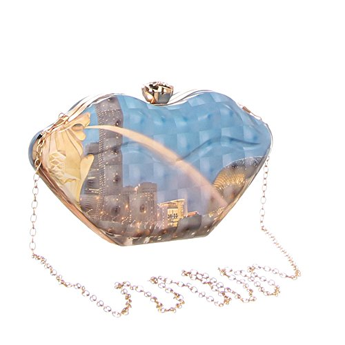 iTal-dEsiGn Damentasche Kleine Clutch Abendtasche Synthetik TA-3260-8 Blau Multi