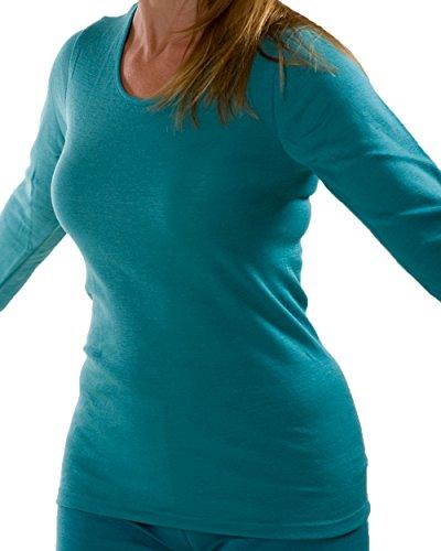 Damen Unterhemd langarm, Wolle Seide, 3 Farben, Gr. 34-48 (34/36, Eisvogel)