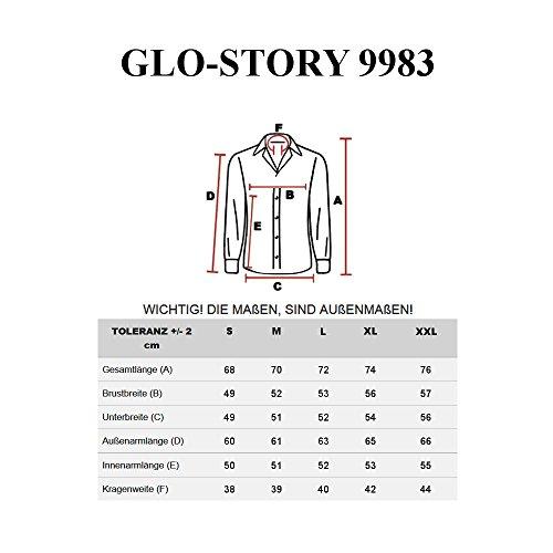 BOLF Langarm Herrenhemd Schlicht Hemd Figurbetont Freizeit Slim Fit GLO STORY 9983 Dunkelblau