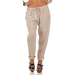 Malito Ocio Pantalones de Lino con Cintura Elástica 6816 Mujer (XL, Beige)