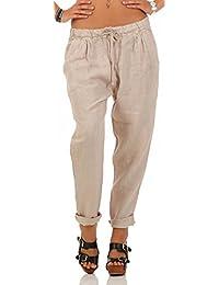 f502eb2d5 Malito Ocio Pantalones de Lino con Cintura Elástica 6816 Mujer