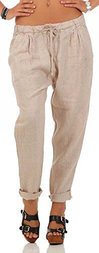 Malito Damen Hose aus Leinen | Stoffhose in Unifarben | Freizeithose für den Strand | Chino - Jogginghose 6816 (beige, L)