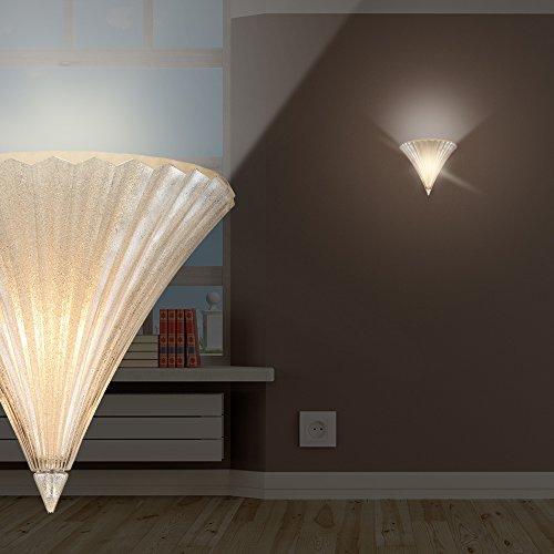 MIA Light Klassische Wandleuchte aus Glas in klar mundgeblasen mit Dekor goldfarben (Wandlampen Glas Mundgeblasenes)