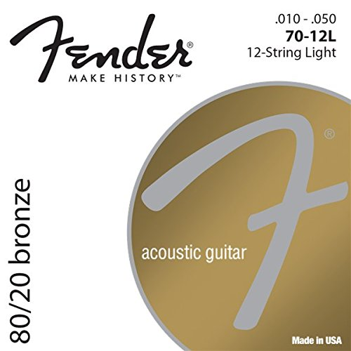 Fender 073-0070-423 80/20 Bronze Acoustic Strings, Ball End, 70-12L .010-.050 Gauges, Set of 12