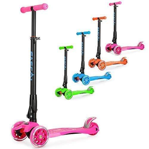 Fascol Kinderroller Scooter Klappbar Roller ab 3 -12 Jahre Leuchtende Räder Tretroller Cityroller mit Knieschützer und Ellenbogenschützer Belastbarkeit bis 60 kg (Rosa)