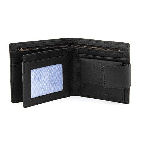 Hoxton Große Kapazität Zwei Fold Leder Geldbörse mit Tab By Gryphen, Braun - schwarz - Größe: One Size (Two Wallet Leder Fold)