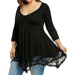 FAMILIZO Camisetas Mujer Tallas Grandes Camisetas Mujer Verano Tops Mujer Primavera Camisetas Mujer Largas Camisetas Mujer Manga Larga Algodon Tallas Grandes Mujer Fiesta Blusas (2XL, Negro)