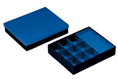 NIPS 111190136 VARIO-BOX mit variabler Innenaufteilung und Deckel, B 35,0 x T 28,5 x H 7,5 cm, blau/schwarz