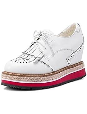 Beauqueen 2017 de moda de cuero del talón de elevación Oxford plataforma de zapatos redonda de punta redonda del...
