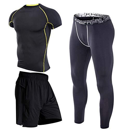 XIAOYUN 3Pcs / Set Männer-Trainingsanzug Sport Anzug Gym Fitness Kompressionskleidung Laufen Jogging Sport Wear-Übungs-Trainings-Strumpfhosen,D,M
