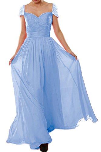 MACloth - Robe - Trapèze - Manches Courtes - Femme Bleu - Bleu ciel