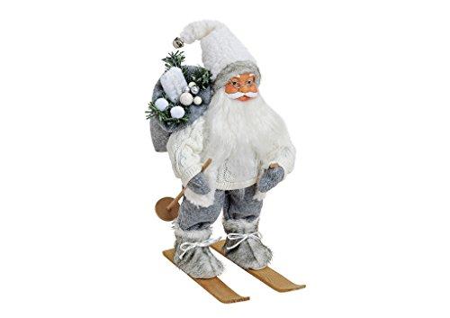 Decorazione natalizia babbo natale, in tessuto/plastica/legno   babbo natale decorativo-statuetta 30 cm colore bianco-grigio, tavolo decorativo o finestre decorazione per natale