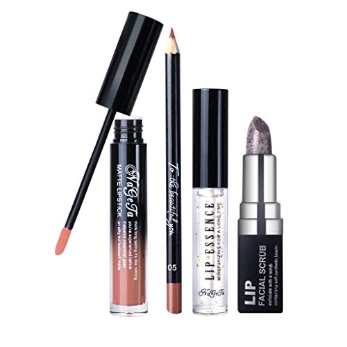 Kapian Lippenset,Lip Liner,Lip Gloss,Peeling-Stick,Serum,Lip Set Entfernt Unreinheiten Langlebiges Lippen Make-up Feuchtigkeitsspendendes, Weiches 4-teiliges Set Antihaft Lipgloss Lipstick