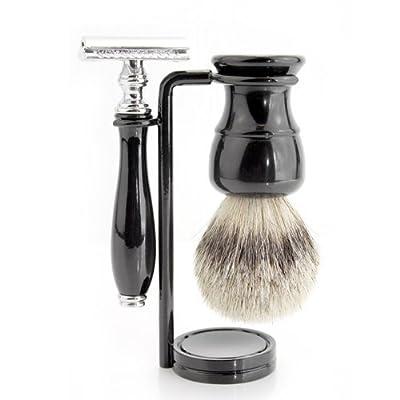Black Colour Men's Shaving Set With Sliver Tip Badger Hair Shaving Brush,Dual Stand for both razor & Brush along & De safety Razor.