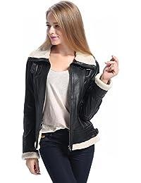 "BGSD Women's ""Brittany"" Sherpa Trim New Zealand Lambskin Leather Jacket"