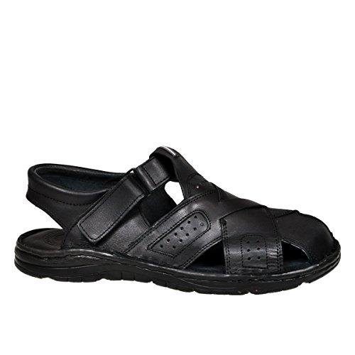 Calzature vera pelle di bufalo scarpe ortopediche comodi sandali da uomo 867 (nero, 40 eu)