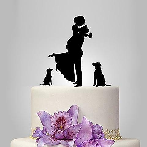Generic - Topper decorativi per torta nuziale, motivo sposo che sorregge la sposa, con 2 cani romatica, in materiale