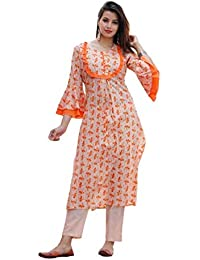 Fabista Cotton Printed Indo-Western Flared Kurta With Palazzo Set For Woment