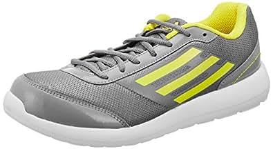 Adidas Men's Lunett Grey and Yellow Running Shoes -UK 7
