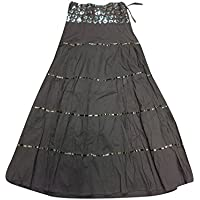 Mogul Interior Ladies Black Sequin Maxi Skirt Skirt Black Lacework A-Line Flared Long Skirts M