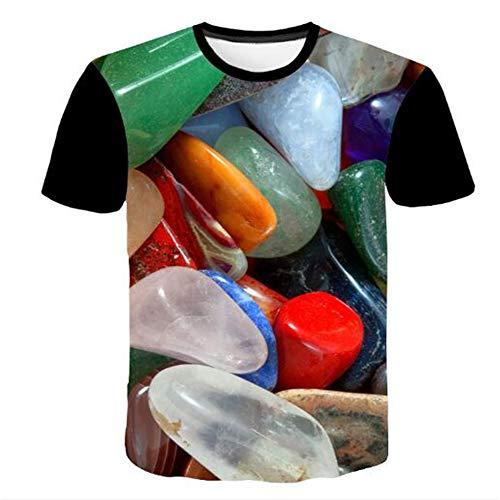 Bedruckte Herren T-Shirts für den Sommer Vintage und Urlaub Lässige Neuheit Cool Travel T-Shirt mit kurzen Ärmeln,3D Pebble-2 Farbe M -