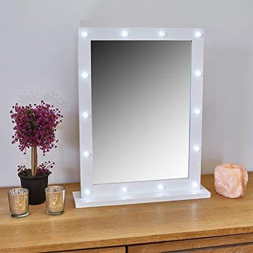 Freistehende Badezimmer-spiegel (gadgetzone weiß freistehend Hollywood Spiegel Make-up Aufleuchtend beleuchtete 14 LED - handlich Kompakter Badezimmer Rasieren Kosmetik Batterriebetrieben Garderobe)