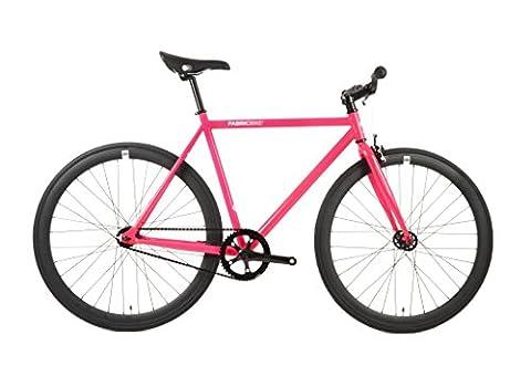 FabricBike- Vélo fixie fuchsia, fixed gear, Single Speed, cadre Hi-Ten acier, 10Kg (Fuchsia & Black, L-58)