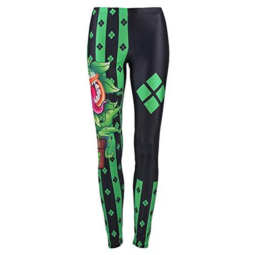MIRRAY Damen Halloween Leggings Lässige Asymmetrische Gedruckt Yoga Gym Stretch Sporthosen ()