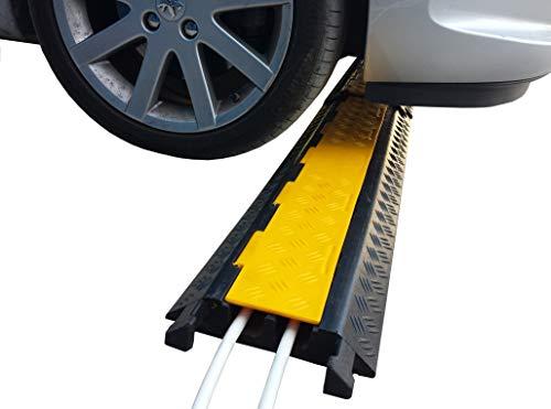 Durchmesser-leitung (EDP-2 Modularer Kabel-Überfahrschutz aus Kautschuk mit zwei Kanälen und mit Verdeckklappe, für Leitungen mit 28 mm Durchmesser (1 Stück))