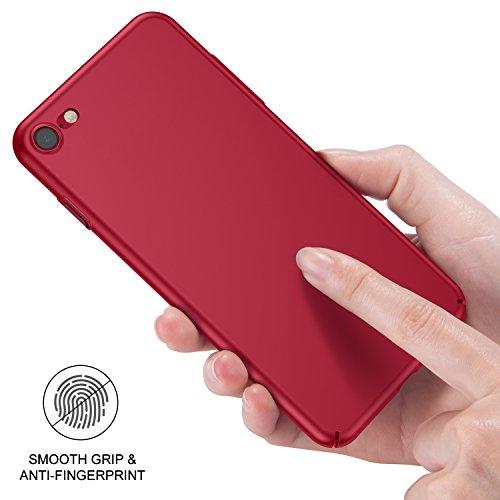 iPhone 7 Hülle, iPhone 8 Hülle, RANVOO Extra Dünn Hart Hülle Hard Ultra Slim Case Plastik Material Anti-Kratzer Anti-Fingerabdruck Leicht Schale Cover Handyhülle Voller Schutz für iPhone 7/8, Schwarz Rot