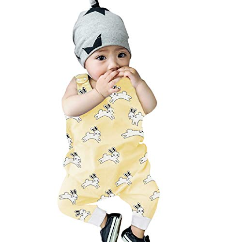 Gelbes Langarm-strampelanzug (Liusdh Strampelanzug für Neugeborene, Kleinkinder, Jungen und Mädchen, Cartoon-Tier-Aufdruck, Strampelanzug)