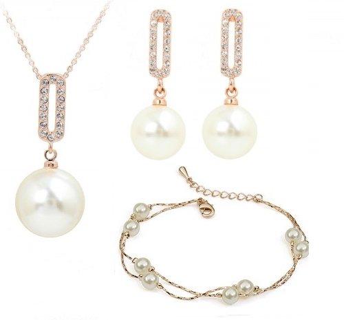 grande vendita carino economico cerca l'autorizzazione Oro 18 K Gp Swarovski Cristallo Bianco Perle Set collana ...