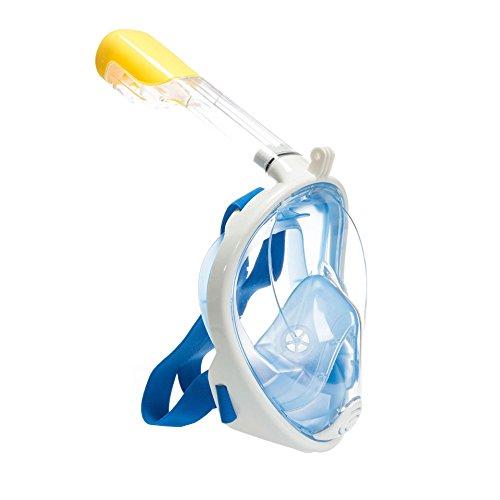 Tauchmaske,Schnorchelmaske,Tauchmasken Vollgesicht,Schnorchelmaske Kinder Erwachsene mit Anti-Beschlag Beschichtung 180 ° View Design (S/M, blau)