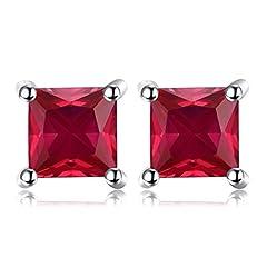 Idea Regalo - JewelryPalace Quadrata 0.8ct Sintetico Rosso Rubino 925 Sterling Argento Stud Orecchini