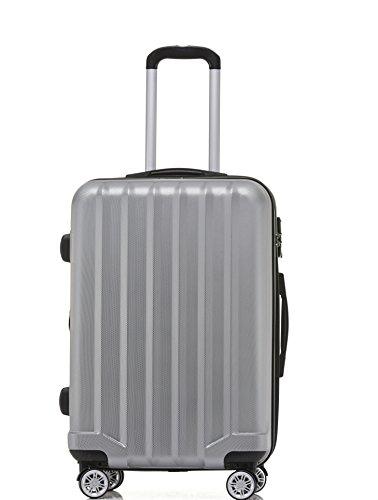 BEIBYE TSA-Schloß 2080 Hangepäck Zwillingsrollen Reisekoffer Koffer Trolley Hartschale Set-XL-L-M(Boardcase) (Silber, M) - 2