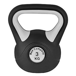 Bad Company Kettlebell als Set oder einzeln I 2 Kg – 20 Kg I Kunststoff Kugelhantel und Ablage-Rack I Schwunghantel Workout – Black & White