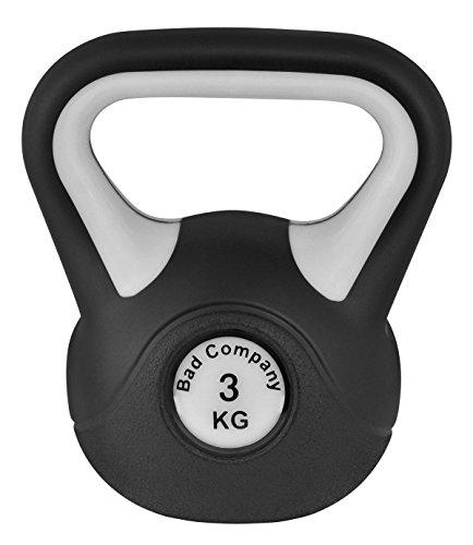 Bad Company Kettlebell als Set oder einzeln I 2 Kg - 20 Kg I Kunststoff Kugelhantel und Ablage-Rack I Schwunghantel Workout - Black & White
