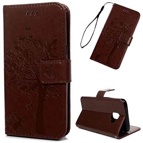 Edauto J2 Core Hülle Case für Samsung Galaxy J2 Core Schutzhülle Wallet Flipcase Großer Schmetterling PU Handyhülle Handytasche Geldbörse Karteneinschub Magnetverschluß Ständer Tasche braun