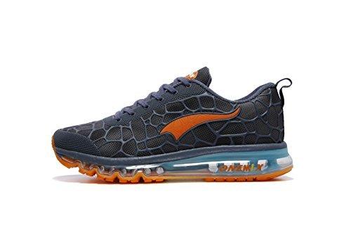 ONEMIX Air Uomo Scarpe da Ginnastica Corsa Sportive Running Sneakers Fitness Interior Casual all'Aperto Lago Blu/Arancio Dimensione 46 EU