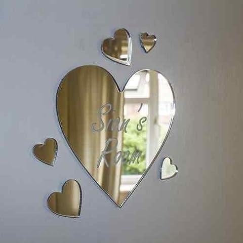 Personalizado Espejo de acrílico del corazón fijó con Sticky Pad