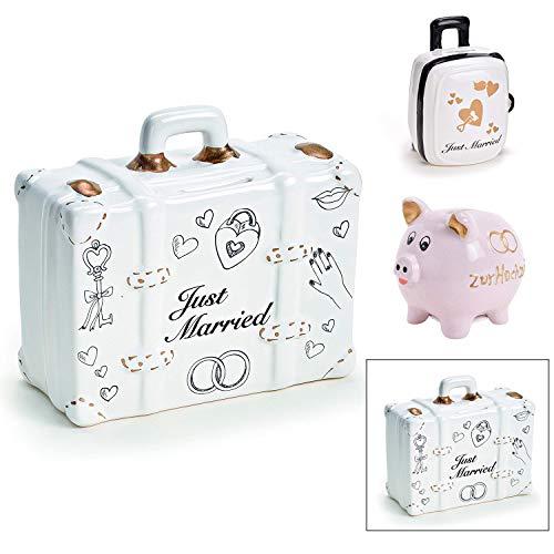 Spardose Hochzeit in 3 Varianten - Just Married Koffer - Aus Keramik - Süße Geschenkidee für Brautpaar - Geldgeschenk Koffer für die Flitterwochen - Weiß/Gold