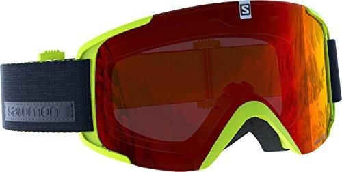 Salomon Maschera da Sci Unisex, Tempo Variabile, Visiera Rosso Multistrato, Sistema Airflow, XVIEW, Verde Chiaro, L39903400