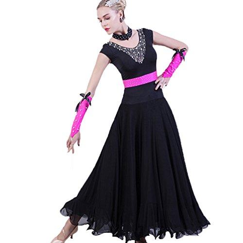 WQWLF Ärmellose Standard-Ballsaal-Tanz Kleider Flamenco Modern Smooth Waltz Tango Party Performance Kleid Latin Swing Kostüme für Frauen, ()