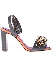 Dolce   Gabbana Donna Sandalo in Pelle Stampa Iguana Nero con Applicazioni  Gioiello. Tacco 9 020b9e709d2