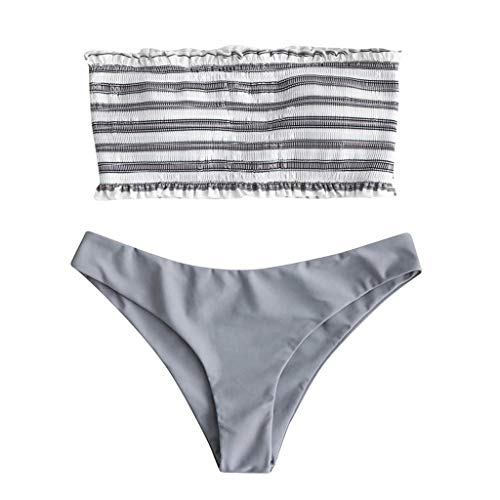 VEMOW Heißer 2 STÜCK Bikini Sets Elegante Damen Frauen Bademode Bikini Anzug Streifen Push-Up Gepolsterte Bad Beachwear(Grau, 38 DE/L CN)
