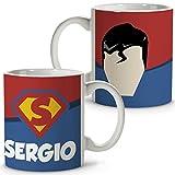 Taza Superhéroes Personalizada con Nombre | Regalo Friki | Varios Diseños y Colores Interior | Superman