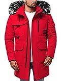 OZONEE Herren Winterjacke Parka Jacke Kapuzenjacke Wärmejacke Wintermantel Coat Wärmemantel Warm Modern Täglichen JS/HS201809 ROT 2XL