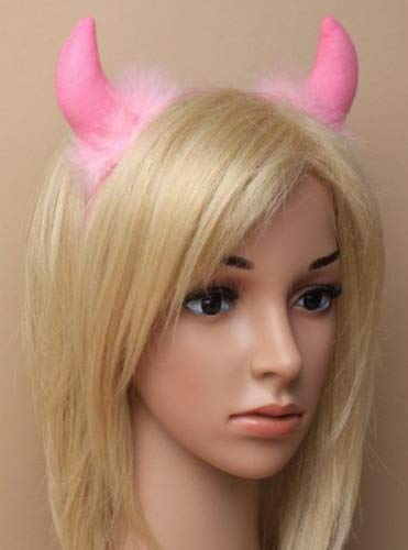 Pink Devil Horns auf Alice Band Rosa Fell Trim Halloween Fancy Dress Up -