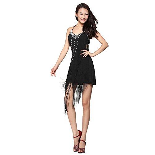 Damen Latin Dance Sling groß Diamant Kleid Ballsaal Rock Standard Ball tragen Gr. One Size, Schwarz