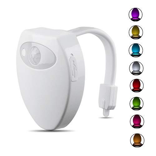STARAYS 3 STÜCKE Wiederaufladbare Toilette Licht, 8 Farben Ändern, LED Sensor Bewegung Aktiviert Badezimmer Waschraum Nachtlicht -
